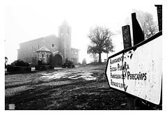 bajo la niebla / under the fog (Luis kBAU) Tags: fog niebla church iglesia cartel indicador