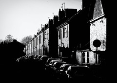 Suburban terrace with cars in winter sunlight (Allan Rostron) Tags:
