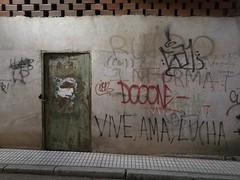 Vive, ama, lucha (Joost (formerly habeebee)) Tags: spain extremadura badajoz wall wallscape writing graffiti slogan vive ama lucha live love fight door tags urban city sidewalk