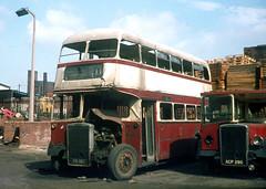 Oldham Corporation. 108 108HBU . Corporation Bus Garage , Oldham , Lancashire . Monday 01st-September-1969 . (AndrewHA's) Tags: lancashire bus oldham corporation leyland titan pd roe 108 108hbu damaged accident fire acp390 halifax 347