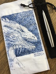 He knows if you've been bad or good... (schunky_monkey) Tags: napkinart napkin napkinsketch sketching sketch drawing draw fountainpen penandink ink pen illustration art fire scales firebreather legend myth creature mythical dragon
