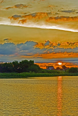 Sunrise In The  Preserve (garywitte845) Tags: blackhawkwildlifepreserve sunrise water clouds farm