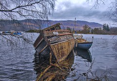 boat graveyard (johnny_9956) Tags: wreck boat decay water canon outdoor outside trees scotland 7d abandoned uk loch lake