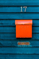 No Junk Mail (Karen_Chappell) Tags: red blue mail post number house home downtown city urban architecture building mailbox clapboard wood wooden metal paint painted rowhouse jellybeanrow stjohns canada canonef24105mmf4lisusm atlanticcanada eastcoast avalonpeninsula colours colourful color colors colour multicoloured 17 seventeen