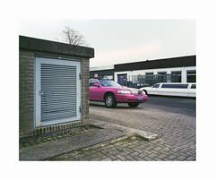 pink ride (ha*voc) Tags: mamiya7ii 65mm rangefinder film 120 mediumformat 6x7 fujipro400h urban empty mundane silence peopleless car pink