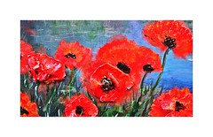 Popping Poppies (BlueisCoool) Tags: flickr foto photo image capture picture photography sony red art artist artwork abstract color colorful bright vivid painting paintings drawings pencils oils watercolors beauty beautiful flowers poppies nature florida sonydscw300 poppingpoppies acrylicpainting floridalifestyle floridaliving artgallery 120centralparkdr largopubliclibrary largoflorida