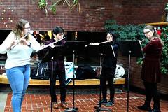 RPI FLUTE ENSEMBLE (MIKECNY) Tags: music quartet flute rpi ensemble perform atrium victorianstroll troy musicstand brick