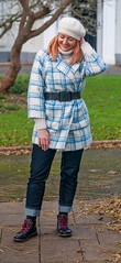An Everyday Outfit: Winter Coat Worn 80s Style (blue check coat, belted) | Not Dressed As Lamb, Over 40 Fashion and Style (Not Dressed As Lamb) Tags: winter fashion style 80s checks checked plaid bold ootd outfit blogger