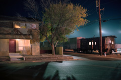 (patrickjoust) Tags: fujica gw690 kodak portra 160 6x9 medium format 120 rangefinder 90mm f35 fujinon lens c41 color negative film cable release tripod long exposure night after dark manual focus analog mechanical patrick joust patrickjoust nevada nv desert southwest western united states north america west usa us estados unidos small town old train caboose cars tree house home fallon