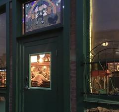 Duffy was on his usual stool (MPnormaleye) Tags: alcohol bottles night moody utata neighborhood signs saloon tavern bar