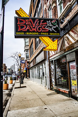 (jfre81) Tags: chicago wicker park milwaukee avenue devil dawgs food takeout fast cheap noketchup sport pepper dill pickle spear relish celery salt poppyseed bun maxwell street polish sausage restaurant dive 312 windy second city sign storefront sidewalk james fremont photography jfre81 canon rebel xs eos
