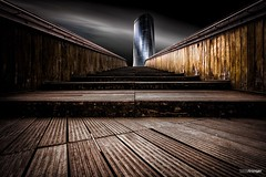Tin (colour version v.2.0) (Holger Glaab) Tags: bilbao bilbo architecture travelphotography travel city urban bridge skyscraper fineartarchitecture fineart colour color longexposure woodenbridge wood