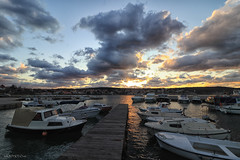 Golden end of the day (malioli) Tags: port boat sea sunset sun dusk clouds sky canon
