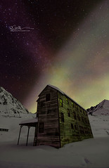 Cover-Bunk-House (Ed Boudreau) Tags: alaska alaskalandscape alaskamountains auroraborealis northernlights nightsky nightscene abandonedmine milkyway longexposure
