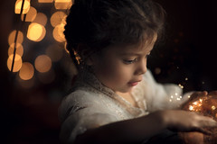 Little Magic ({jessica drossin}) Tags: jessicadrossin childhood bokeh golden christmas holiday face child girl white orange profile snow globe magic wwwjessicadrossincom