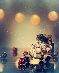 Santa at work (Ro Cafe) Tags: christmas nikkor105mmf28 sonya7iii stilllife lights miniatures toys bokeh textured