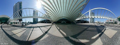 Portugal, Lisbon, Orient train station / Estação do Oriente (panoround hutter) Tags: hutterdesign 3d panorama lisbon portugal travel viaje cultura architecture architectura eu europa explore hutter history place historic 360 degree people abstract building buildings city contemporary design expo flare geometry glass light metal modern oriente pattern perspective roof shadow star structure sun sunset town transparent urban vasco da gama parque das nações passenger passengers waiting platform open air railway pietro faccioli calatrava sunburst train station transportation lisboa 360grad simple bahnhof zug metropole santiagocalatrava