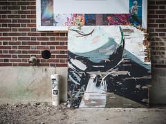 broken art (Asbury Park NJ) (Steve Stanger) Tags: olympus olympusomdem10markii microfourthirds m43 micro43 getolympus olympuscamera asbury asburypark asburyparknj asburyparkboardwalk woodenwallsproject brick brickwall wood lumixg25mmf17 lumix25mm 25mm prime primelens
