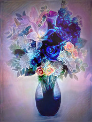 Flowers In A Blue Vase (ladyinpurple) Tags: ddg texture pspxi photofiltre