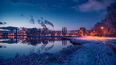 blue hour (Slávka K) Tags: blue hour city street lake december snow firstsnow slovakia košice 2019 evening houses sky clouds warmlight light mirror reflection winter landscape country water trees grass