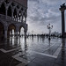 Wet stones in front of the Doge's Palace, St. Mark's Square, Piazza San Marco, Venice, Italy