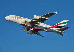 You'll Believe A Whale Can Fly (Deepgreen2009) Tags: whale airbusa380 emirates aeroplane airliner aircraft giant departure takeoff climb flight transport sky doubledeck heavy