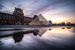 Paris, sunset on the Louvre Pyramid (pierrepphotography) Tags: paris france louvre sunset reflections puddle