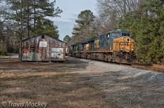 CSX Q583-09 at the old SAL Freight Depot in Wadesboro (Travis Mackey Photography) Tags: csx q583 sal freight depot wadesboro nc monroe sub gevo train railroad locomotive trees grass sky building
