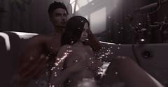 50 Shades of SL (queenzeina) Tags: sexy secondlife 3d virtual bath shower water dark man girl woman love cuddle imvu naked nude bathtub bathroom relationship