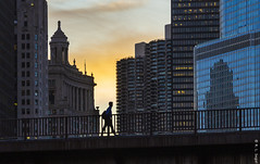 Crossing Michigan Avenue Bridge at Sunset (rjseg1) Tags: michiganavenue bridge chicago silhouette