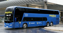 Stagecoach West Scotland 50411 YX69LCA 'Aberdeen Angus' departs from Preston's iconic Bus Station with the Preston to London section of an M11 Megabus service from Scotland. (Gobbiner) Tags: stagecoachwestscotland 50411 panorama preston b11rle volvo plaxton megabus m11 aberdeenangus yx69lca