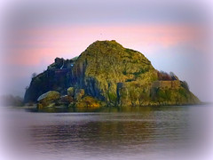 Dumbarton Rock and Castle (Rollingstone1) Tags: dumbartoncastle dumbartonrock dumbarton scotland volcanic basalt fortress stronghold history historical haunted landscape outdoor vivid colour vignette