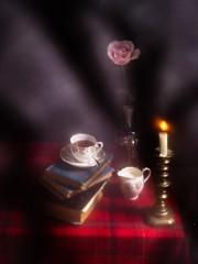 Still Life Inside (bella_blue_star) Tags: stilllife flowers candle rose books book cup tea