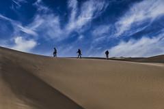 Walking In The Clouds (gecko47) Tags: landscape desert namibia namibnaukluftnationalpark atlanticcoast skyline sand dune figures photographers sky clouds sandwichbay minimalist