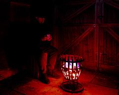 Night Watchman. (SteveCrowhurst 2011) Tags: brazier winterwarmer southendonsea essex coal burn fire brew pasttimes cinders glow warmth heat longexposure