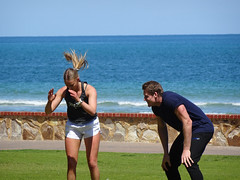 Mysterious Moves (mikecogh) Tags: glenelg adelaide foreshore sea mysterious ponytail action personaltrainer