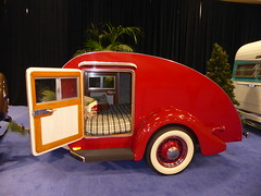 1930s Teardrop Travel Trailer (c_nilsen) Tags: sanfrancisco sanfranciscoautoshow car vehicle mosconecenter digital digitalphoto california teardroptrailer trailer holidayrambler camper