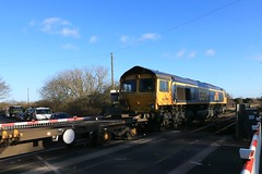 GBRf 66745 (Modern Railways The first 50 Years) 9th December 2019 Finningley Wroot Road (2) (asdofdsa) Tags: trains locomotive railway finningley levelcrossing freight transport containers lincolnline gbrf 66745