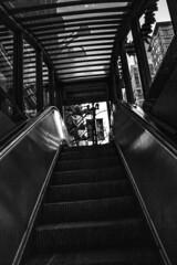 (jfre81) Tags: chicago escalator stair street exit cta red line washington public space transportation black white blackandwhite bw monochrome diagonal minimalist dark tone james fremont photography jfre81 canon rebel xs eos