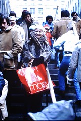 Found Photo - Woman at Rockefeller Center with Macy's Bag (Mark 2400) Tags: found photo woman macys shopping bag rockefeller center new york city christmas vintage