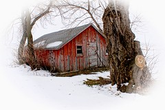 Red Shed on the Edge of Town (Dave Linscheid) Tags: building architecture red snow cold winter fall autumn smartphotoeditor butterfield watonwancounty mn minnesota