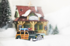 holidays in the mountains (rockinmonique) Tags: toy car ski house hig christmasvillage tree green gold yellow blue moniquewphotography canon canont6s tamron tamron45mm copyright2019moniquewphotography
