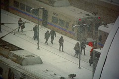 Deboarding:  Light Rail Train Passengers Arrive at Denver International Airport Station (Ginger H Robinson) Tags: deboard lightrailtrain railway train station passengers travel holiday thanksgiving snowstorm snow storm weather cold ice denver colorado november red icicles