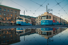 Race Time (Fredrik Lindedal) Tags: tram reflections puddle puddlegram city cityview water trams sky street streetview göteborg gothenburg sweden sverige lindedal