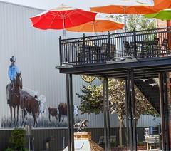 Rawhide (clarkcg photography) Tags: wall wallart walls art cowboy cows cattle patio umbrella pawhuska