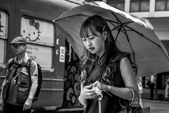 Tokyo 2019 (burnt dirt) Tags: shibuya tokyo japan asia japanese asian candid documentary street photography downtown metro urban city scramble crossing outdoor people person fujifilm xt3 fujinon 50mm f2 bw blackandwhite monotone monochrome woman girl smile laugh train station style fashion life real crowd tourist emotion expression portrait close nippon umbrella