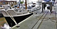 Dockyard Railway. (ManOfYorkshire) Tags: spaldin model railway exhibition lincolnshire 2019 shellwelder boat ship docked docks jamesst jamesstreet ngauge 1148 scale train layout dockside wagons turntables cranes