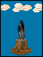 The Bell Tower (Karf Oohlu) Tags: lego moc microscale tower belltower hill clouds topofhill vignette