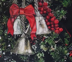 Pining for Christmas (Carla René) Tags: silver bells christmas red ribbon bow bows pine trees snow schnee cards
