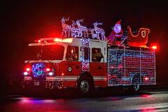 Highlands Fire Department . . . (dragonflydreams88) Tags: ©dragonflydreams88 victoriatruckparade2019 santa sleigh reindeer firetruck fireman christmas parade